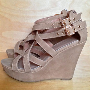 Top Moda Tan Faux Suede Strappy Platforms  | 6